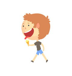 Funny smiling cartoon boy eating ice cream vector