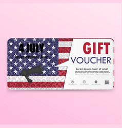 Gift voucher american flag background or vector