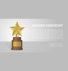 Golden star award on brown base gold trophy banner vector