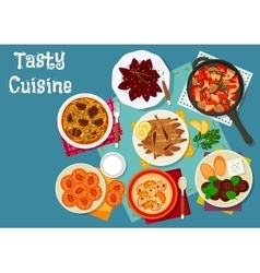 Greek and russian cuisine lunch menu icon vector