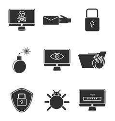 Hacking protection icon set vector