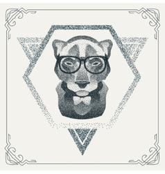 Halftone hipster panther with black dots vector