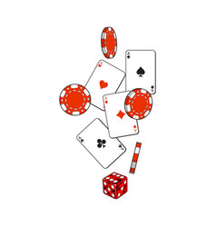 Heart spade clubs diamond ace cards dice and vector