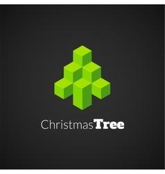 Isometric christmas tree logo vector image vector image
