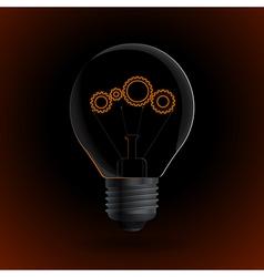 Lightbulb with gear sign on a dark background vector