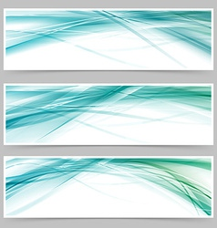 Modern blue swoosh line flyer collection vector image vector image