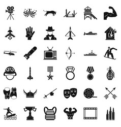 Plane icons set simple style vector