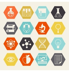 Science icons in flat design style vector