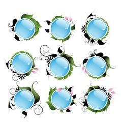 Set of bright vegetable aqua icons vector