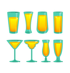 Set of glass cups vector