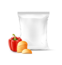 Stack of potato chips with paprika and foil bag vector