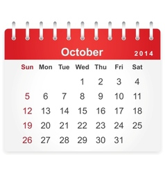 Stylish calendar page for October 2014 vector image