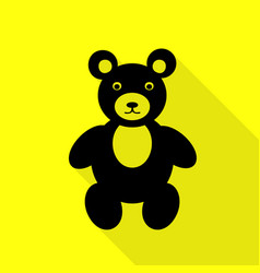 teddy bear sign black icon with flat vector image vector image