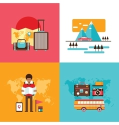 Travel tourism holidays vacation banner set Young vector image vector image