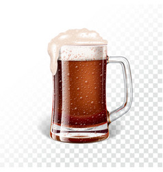 with fresh dark beer in a beer mug on transparent vector image