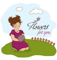 young girl with a bouquet of flowers vector image