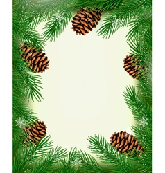 Frame made of christmas tree branches with pine vector image