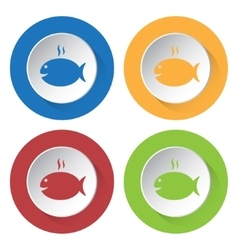 Set of four icons - grilling fish with smoke vector