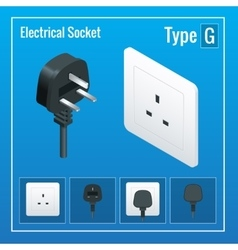 Isometric switches and sockets set type g ac vector