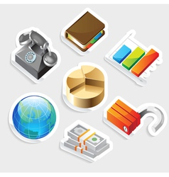 Sticker icon set for business metaphors vector