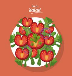 Fresh salad tomato lettuce onion health food vector