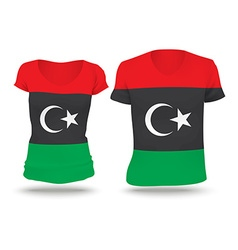 Flag shirt design of libya vector