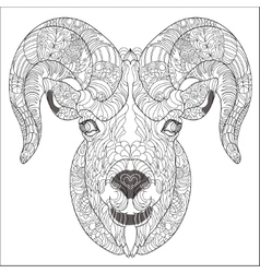 Ornamental head of goat or ram vector