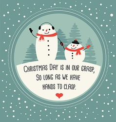 Cute snowman greeting card design vector