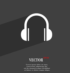 Headphones symbol flat modern web design with long vector
