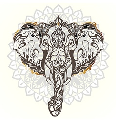Vintage mandala elephant with tribal orname vector image