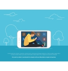 Young guy sitting into the big smartphone outdoors vector