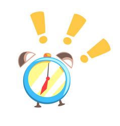 Alarm clock ringing colorful cartoon vector