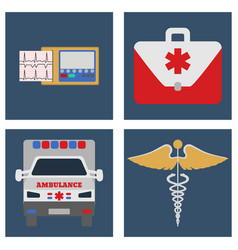 Ambulance car ecg medical bag and sign icon vector