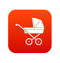 baby carriage icon digital red vector image