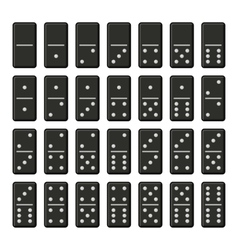 Black Domino Bones Complete Set on White vector image vector image