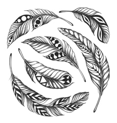 Black-on-white feather shaman circle ornament vector image