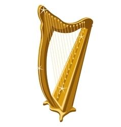 Classic gold sparkle harp cartoon style vector