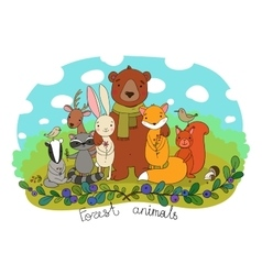 Cute animals of the forest vector