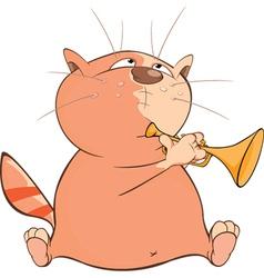 Cute cat trumpeter cartoon vector
