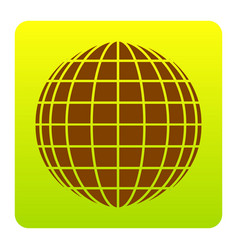 Earth globe sign brown icon at green vector