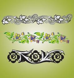 Floral foliage vintage borders vector