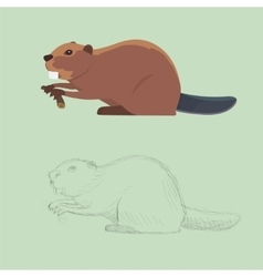 Funny cartoon beaver cartoon style vector image vector image