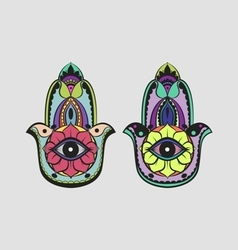 Hamsa hand colorful drawing set vector