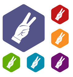 Hand showing victory sign icons set hexagon vector