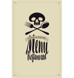 Human skull and cutlery vector