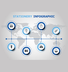 Infographic design with stationery icons vector