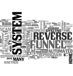 is the reverse funnel system a scam or not text vector image vector image
