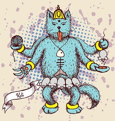 Kali indian god in cat cartoon vector