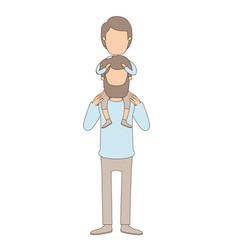 Light color caricature faceless father with vector