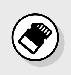 Memory card sign flat black icon in white vector